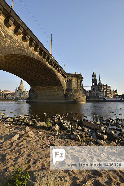 Florence on the Elbe  Augustus Bridge over the Elbe river with Hofkirche  Cathedral of the Holy Trinity  largest church of Saxony  built 1739-1754  Albert Bridge and Frauenkirche  Church of Our Lady  Dresden  Saxony  Germany  Europe