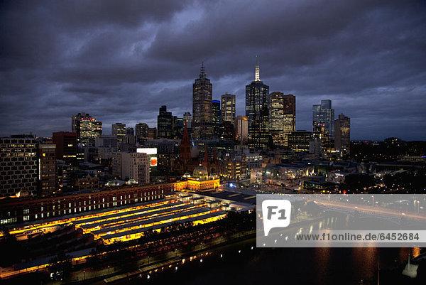 Melbourne cityscape at night
