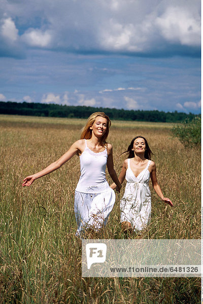1228747 outdoor day summer people woman girl young 20-25 blonde long haired hair meadow field rest relax vacation smile smiling women girls sister sisters friend friends friendship dress white brunette vertical hand hands hold