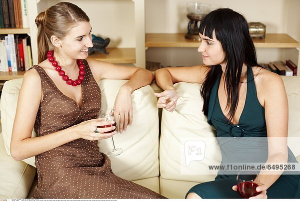 1241694 indoor flat room people woman women young 20-25 girl girls brunette fringe long haired blonde sister sisters friend friends friendship sit blouse blouses close up dress blue brown hold glass drink wine red horizontal