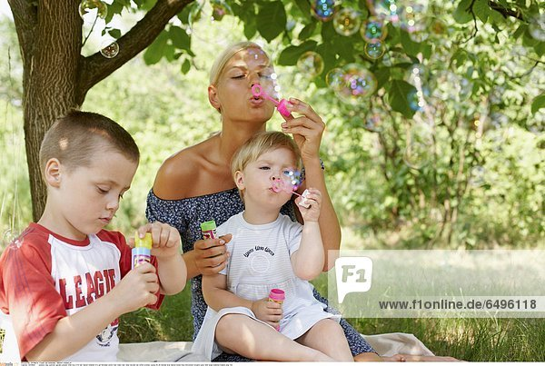 1243656 outdoor day summer garden people child boy 5-10 fair haired children 0-5 girl blondes white tree trees rest relax blouse red white woman young 25-30 blonde long haired dress blue horizontal trousers grey hold soap bubbles bubble play fun
