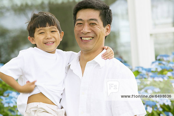 Portrait  lachen  Menschlicher Vater  Sohn