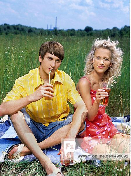 1248376 people woman man girl boy couple boyfriend girlfriend 15-20 20-25 blonde dark haired drink glass glases trinkhalm trinkhalms jouice blanket meadow outdoor summer vertical