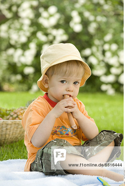 Little boy in the garden