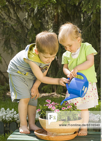 Girl and boy playing in the garden