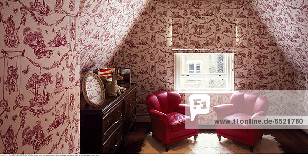 Mandatory Credit: Photo by Kilian O'Sullivan / View Pictures / Rex Features ( 880874a ) Private house daytime photograph of bedroom and erotic wallpaper London Greater London Architect: Stiff And Trevillion Architects ARCHITECTURAL STOCK