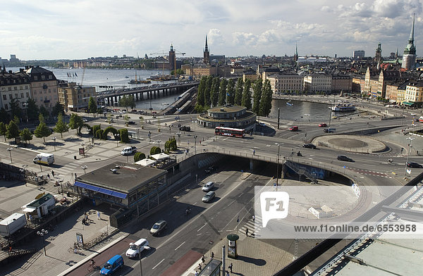 High angle view of traffic in Stockholm