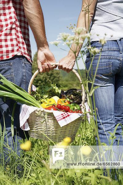 Deutschland  Köln  Junges Paar mit Picknickkorb auf der Wiese