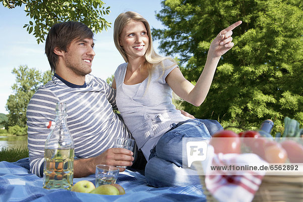 Germany  Cologne  Young couple in meadow  smiling