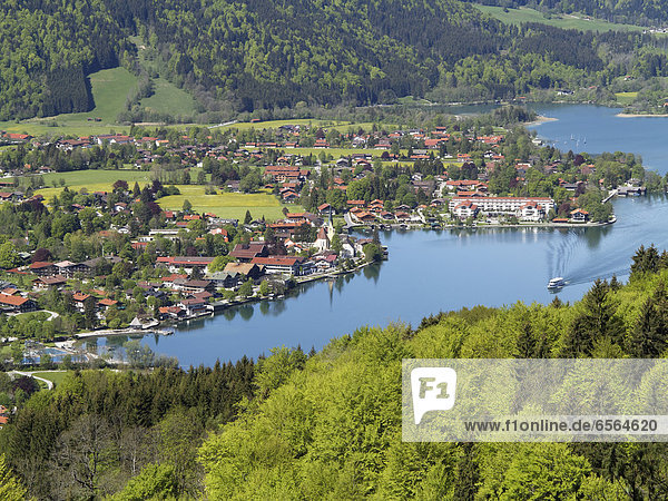 Germany  Bavaria  View of Rottach Egern at Lake Tegernsee