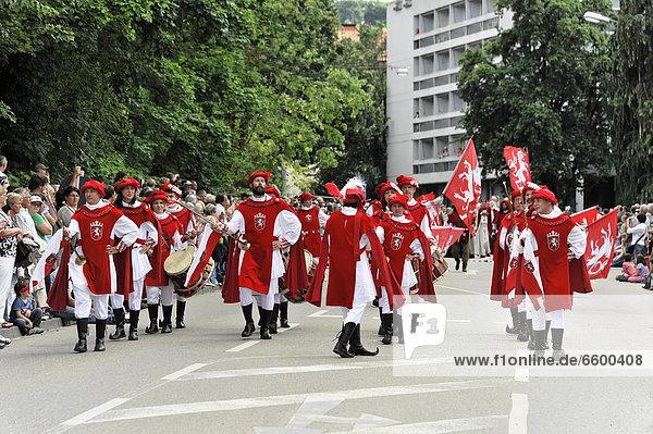 Teilnehmer vom Stauferzug  Staufersaga  08.07.2012  850 Jahre Gmünd  Schwäbisch Gmünd  Baden-Württemberg  Deutschland  Europa