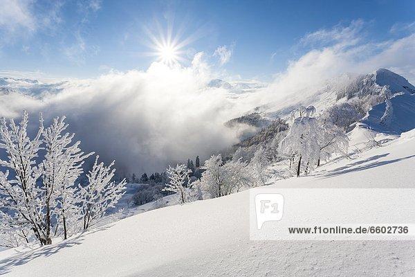 Berglandschaft im Winter über dem Salzachtal  Salzburger Land  Österreich