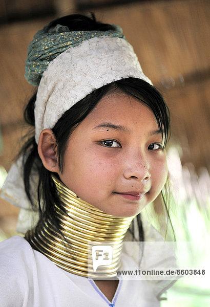 Young Karen woman wearing brass neck rings  Chiang Rai  Thailand  Asia