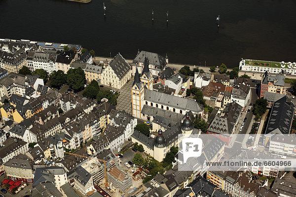 Luftbild  Koblenzer Altstadt mit dem Florinsmarkt und der Florinskirche  Koblenz  Rheinland-Pfalz  Deutschland  Europa