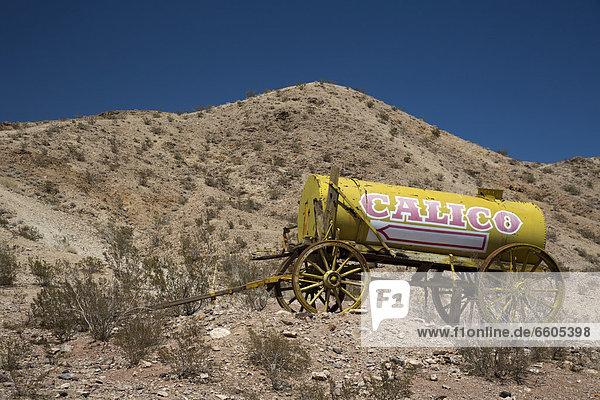 Wasser-Wagen in Calico Ghost Town  Geisterstadt  eine Silberbergbau-Stadt von ca. 1880 in der Mojave-Wüste  als Touristenattraktion renoviert  Barstow  Kalifornien  USA
