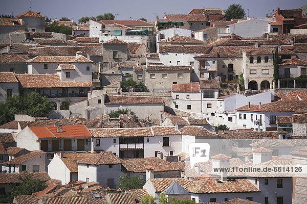 Fliesenboden Dach Stadtansicht Stadtansichten Gebäude Chinchon Spanien