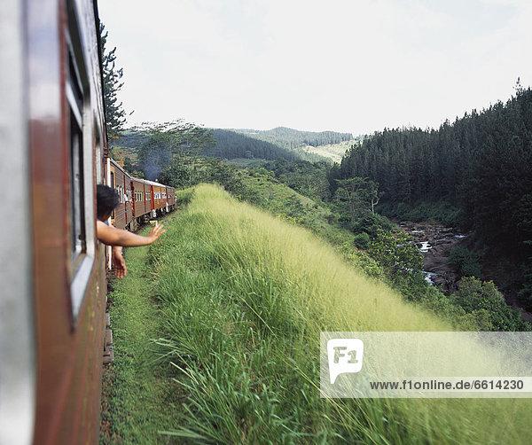 Colombo Hauptstadt Mann hinaussehen Sri Lanka Zug