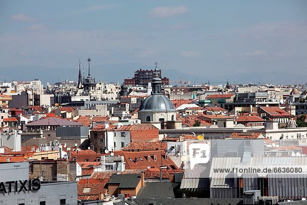 Panoramic view of the city from the top of the central post office  Madrid  Spain  Europe