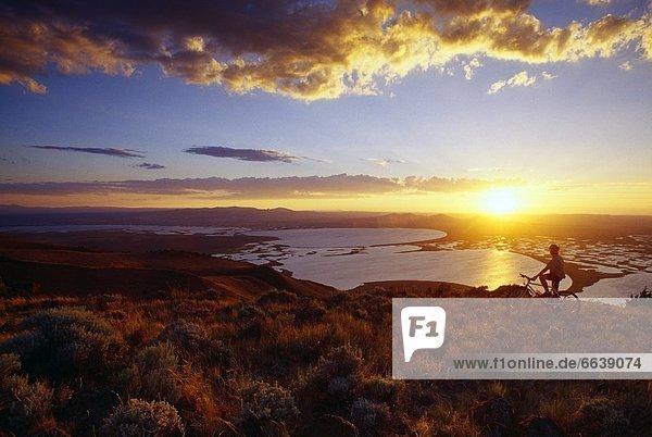 Mountainbikefahrer  Sonnenuntergang