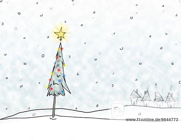 Baum  Schneeflocke  Weihnachten