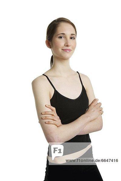 Frau trägt Sportbekleidung