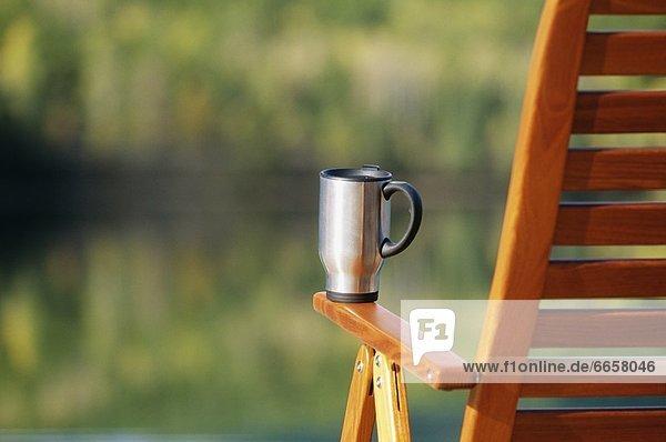 Becher Stuhl Terrasse Kaffee