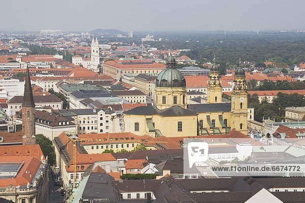 Theatine Church In The Distance  Central Munich  Germany