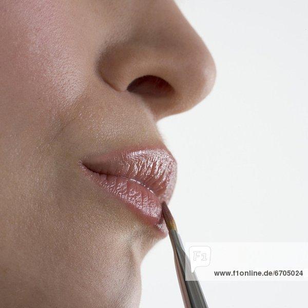 Profil  Profile  Frau  Bürste mund