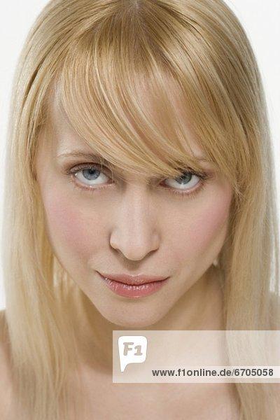 hoch  oben  blond  Frau  sehen