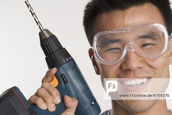 Portrait  Mann  Bohrmaschine  Bohrer  Elektrische Energie
