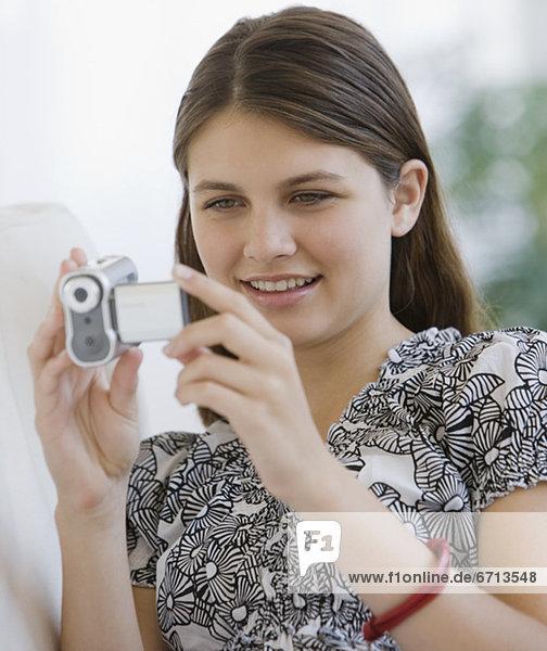 Girl looking at video camera