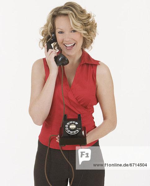 Frau  sprechen  Telefon  Kreisverkehr  Kreisel