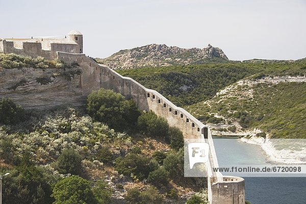 Walls Of The Citadel In Bonifacio  Corsica  France