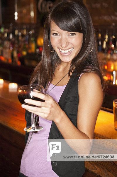 Woman at bar