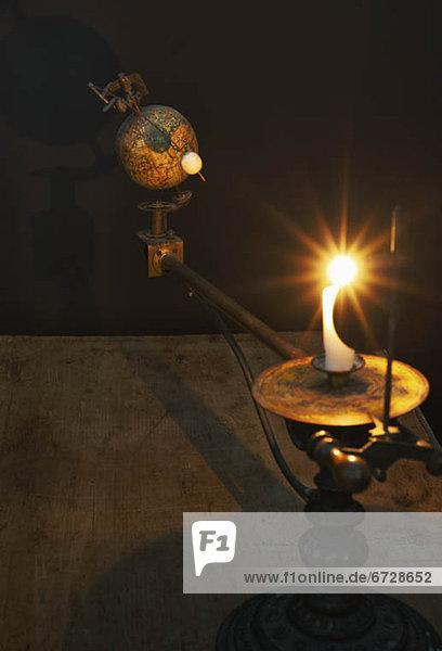 Modell Antiquität Kerze Sonnenenergie Globus