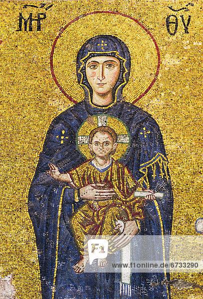 Truthuhn  halten  Jesus Christus  Regenwald  Jungfrau Maria  Madonna  Istanbul  Mosaik  Moschee  Türkei