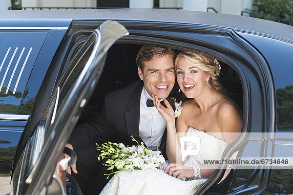 sitzend  Portrait  Ehepaar  Limousine