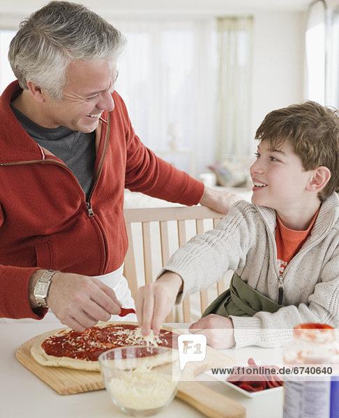 Menschlicher Vater  Sohn  Produktion  Pizza