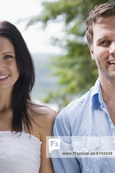 Roaring Brook Lake  Close up of happy couple
