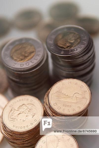 Euromünze  Stapel