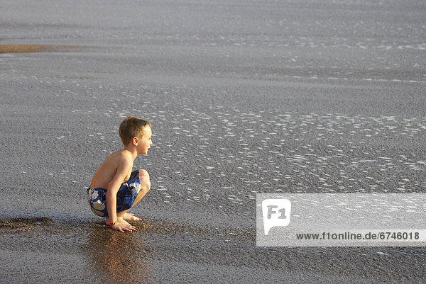 sitzend  Wasser  sehen  Strand  Junge - Person