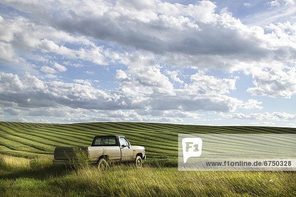 Ecke  Ecken  ernten  parken  Feld  Lastkraftwagen  Bauer  Saskatchewan