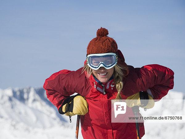 Frau tragen Ski gear