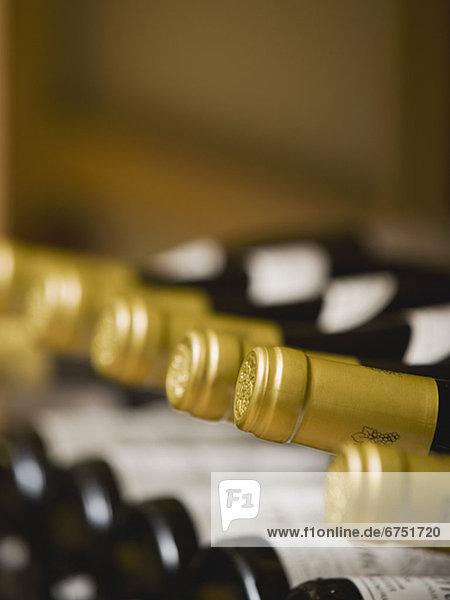 hoch  oben  nahe  Wein  Flasche