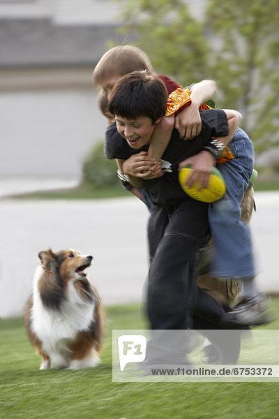 Junge - Person  Garten  Hund  Football  spielen