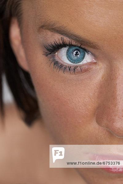 Frau  Close-up  close-ups  close up  close ups  blau