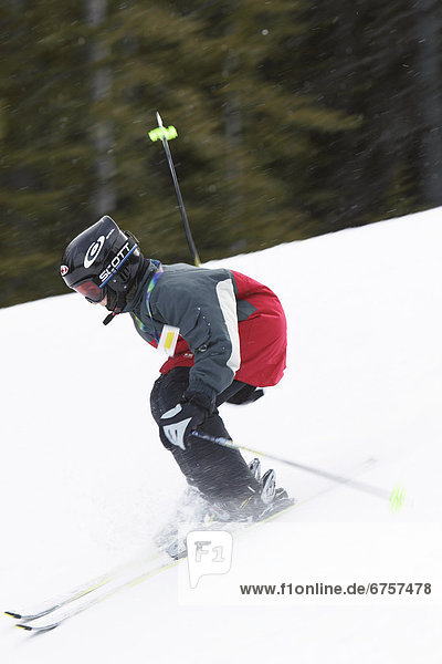 Boy Skiing  Alberta Rocky Mountains