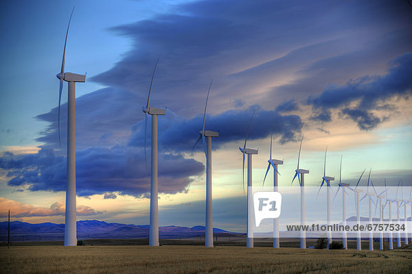 Windturbine  Windrad  Windräder  Außenaufnahme  Bauernhof  Hof  Höfe  Bach  Alberta