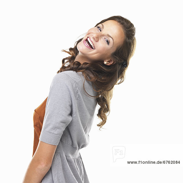 Portrait  Frau  Fröhlichkeit  sehen  lächeln  über  jung  Studioaufnahme