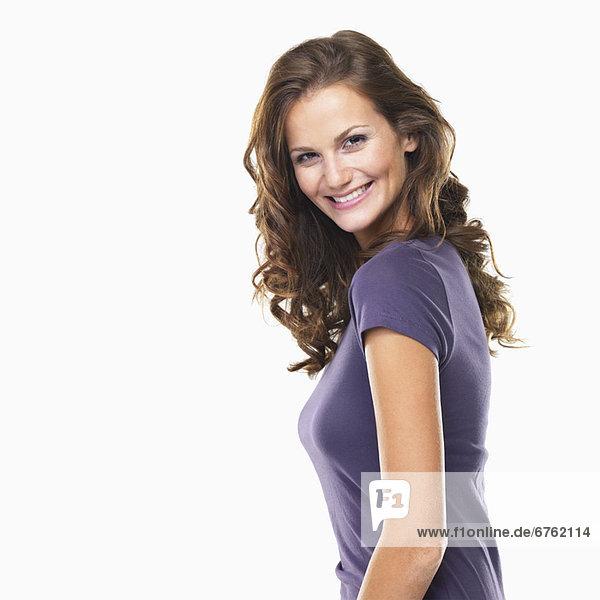 Portrait  Attraktivität  Frau  lächeln  jung  Studioaufnahme